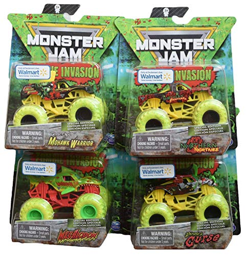 DieCast MonsterJam Zombie Invasion Set of 4 [Megalodon, Mohawk Warrior, Pirate's Curse, and Northern Nightmare]