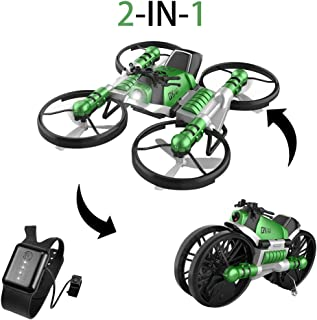 YEIBOBO 2-in-1 Transforming Motorcycle and Quadcopter Drone with Gravity Sensor Watch Control (Green)