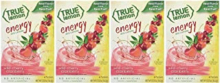 True Lemon (Energy Drinks) Wild Cherry Cranberry 4 boxes, 24ct instant powdered drink mix packets, by True Citrus