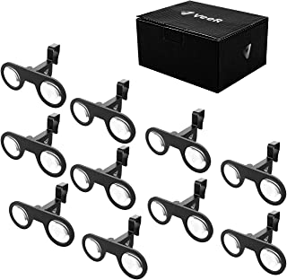 VeeR VR Mini Goggles 10 Packs, Plastic Foldable 3D VR Glasses with HD VR Lens, Virtual Reality Headset, Black