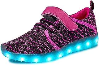 4a Z9AJKAJ Boys Girls 7 Colors LED Luminous Knit Sneakers Fashion USB Charging Light Shoes