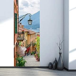 sasdasld Italy Como Lake Self-Adhesive Wallpaper on The Door PVC Waterproof Door Sticker 77x200cm Art Home Decor Mural DIY Bedroom Renew