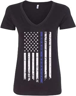 Threadrock Women's Honor & Respect Thin Blue Line Flag V-Neck T-Shirt
