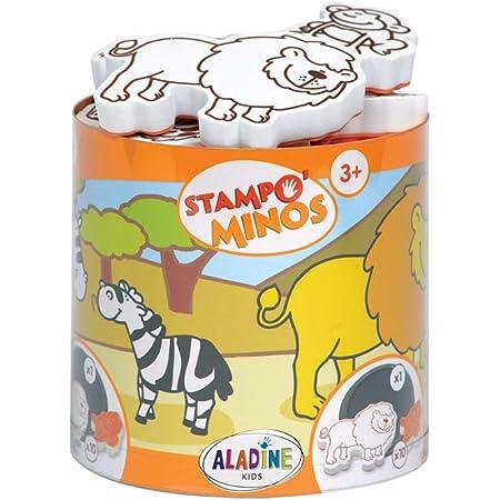 Aladine - Stampo Minos Animaux de la Savane - Kit Tampons Enfant - Activités Manuelles Fille et Garçon - Encre Lavable - Jouets et Jeux Créatifs - Boîte de Tampons + Grand Encreur Inclus - Dès 3 ans