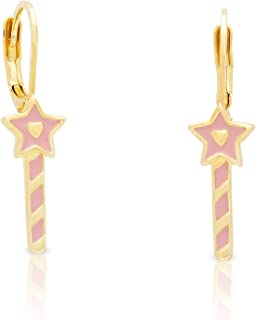 Jewelry for Girls - Princess Wand Leverback Earrings - Gold Plated with Pink Enamel - By Lily Nily