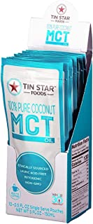 100% Pure C8 MCT Oil by Tin Star Foods - 10 Single Servings: Derived from Non-GMO Coconuts | Paleo, Gluten-Free & Vegan Fuel Source | Travel Size for Keto Coffee On-the-Go