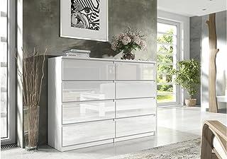 Commode élégante et spacieuse Demii 8 tiroirs 120cm, Blanc Brillant, Parfaite pour Le Salon, Le Bureau, la Chambre