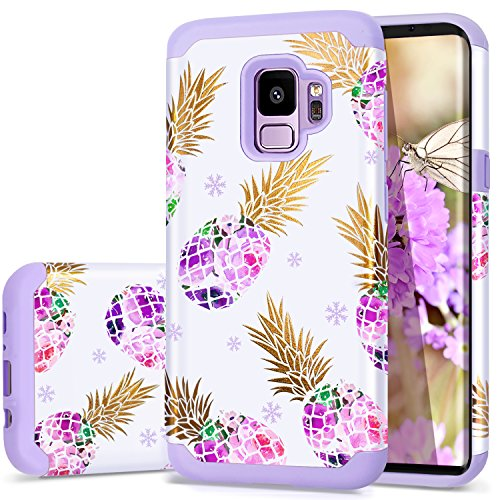 S9 Case Purple,Galaxy S9 Case,Fingic Colorful Creative Purple Pineapple Cover Cute Pineapple PC&Flexible Soft Rubber Silicone Case Phone Case for Samsung Galaxy S9 5.8'(2018),Purple Pineapple