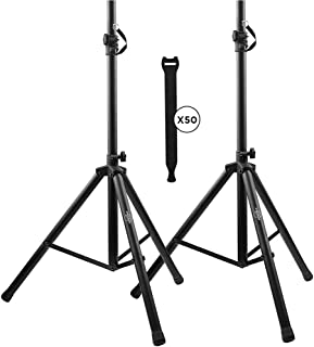 Pa Speaker Stands Pair Pro Adjustable Height with 50 Cable Ties Kit To Secure Cable to..
