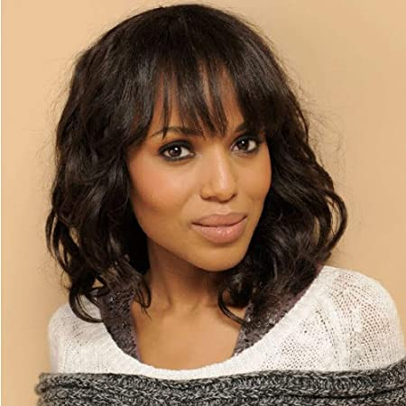 Amazon Com Wignee Natural Wave Wigs With Bangs 100 Brazilian Human Hair Fashion Wave Wigs Natural Black 14 Inch Beauty
