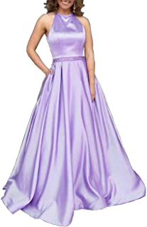 50a819e996 Prom Dresses Long Halter Satin Beaded Backless Formal Evening Gown with  Pockets