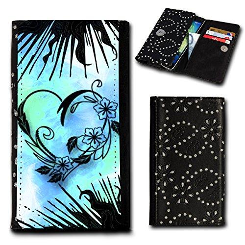 Strass Book Style Flip Handy Tasche Case Schutz Hülle Foto Schale Motiv Etui für Mobistel Cynus F9 - Flip SU6 Design4
