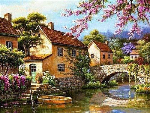 Pintura de diamante, casa del árbol, cuadrado completo, río, bordado de diamantes, mosaico, paisaje, regalo hecho a mano, pintura de diamantes A7 30x40cm