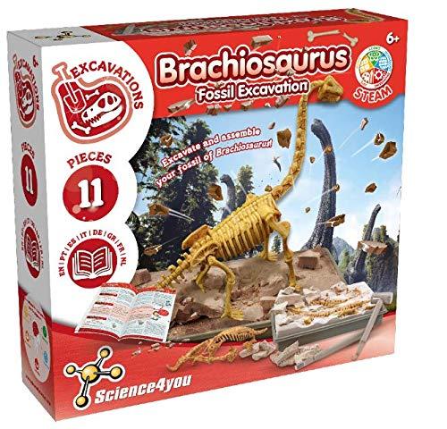 Science4You - Brachiosaurus Kit Scavo Dinosauri Fossili, Giocattolo educativo e scientifico per Bambini di 6,7,8,9+ Anni
