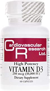 Cardiovascular Research High Potency Vitamin D3 250 Mcg 10000 Iu, White, 60 Count