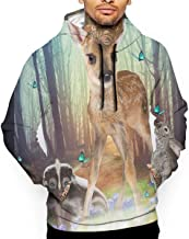 Mens Magic Forest Friends Bambi Africa Ratel Rabbit Pullover Hoodie 3D Print Graphic Sweatshirts Hooded Shirts Pockets