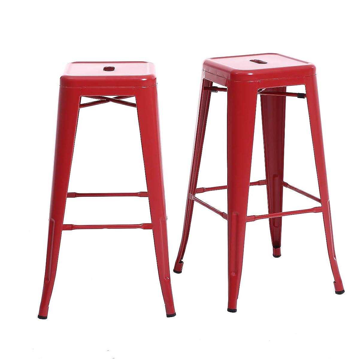 Buschman Set of 2 Matte Red 30 Inch Bar Height Metal Bar Stools, Indoor/Outdoor, Stackable