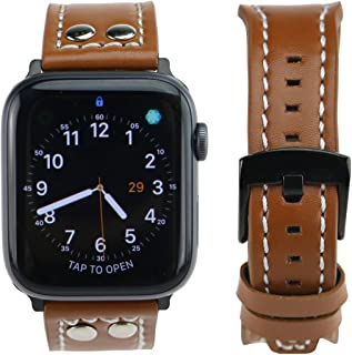 ARTCHE Genuine Leather Replacement Strap Compatible with Apple Watch 42mm, 44 mm Men and Woman Waterproof Wristband with Stylish Rivet for iWatch Series 5/4 / 3/2 / 1 - Light Brown
