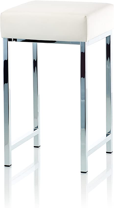 Amazon Com Dwba Backless Vanity Stool Bench With Chrome Metal Legs White Furniture Decor