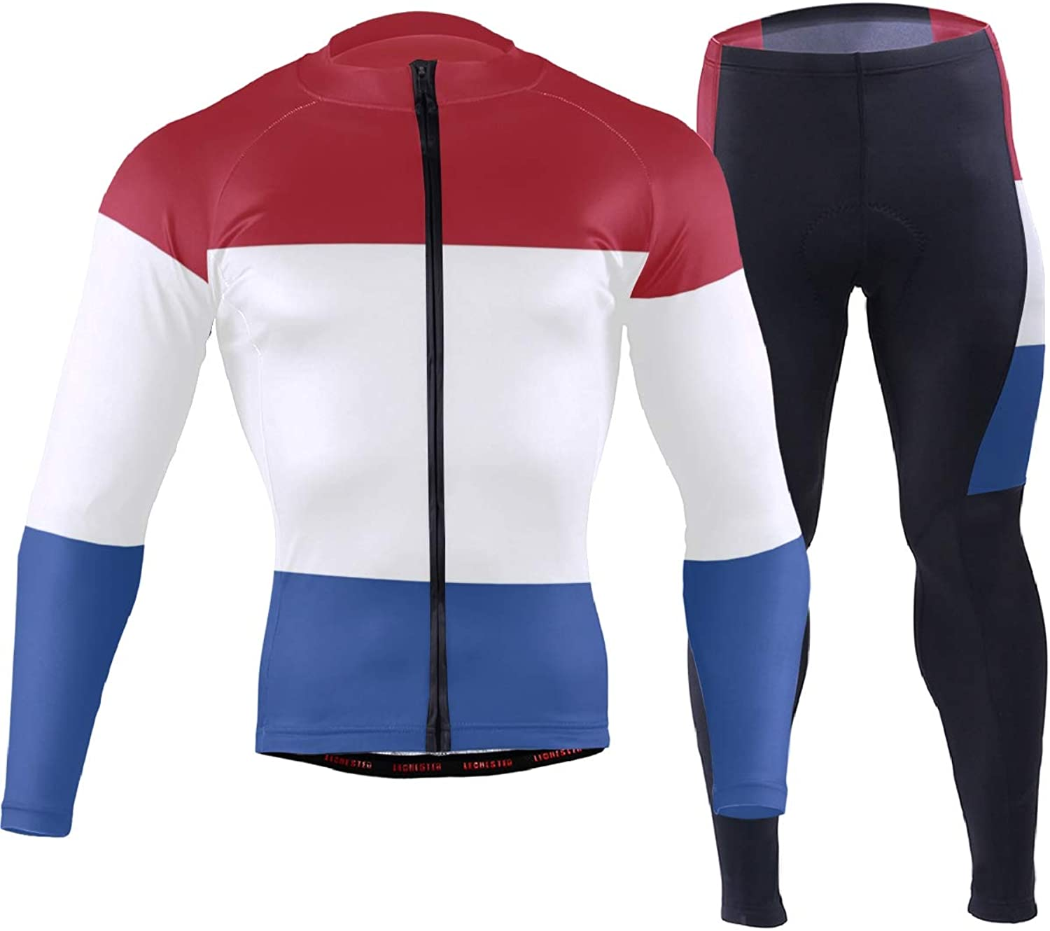Men's Cycling Jersey Long Sleeve with 3 Rear Pockets Suit Netherlands Flag