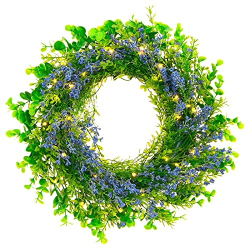Kurala 16' Lighted Wreath, Front Door Window Wreath, Artificial Lavender Green Leaf Battery Operated, with 40 LED Lights and Timer