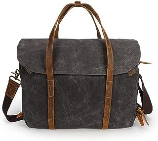 Mens Bag Laptop Briefcase Satchel Shoulder Bag Bookbag with Detchable Strap,Brown/Gray/Green Vintage Crazy Horse Leather Waxed Canvas Messenger Bag High capacity
