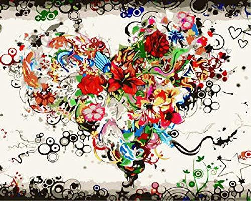 QIANERA Pintar por Numeros para Adultos Corazón de Flores Adultos niños Pintura de Lona para Adultos y niños con Pinturas acrílicas y 3 Pinceles 40X50Cm