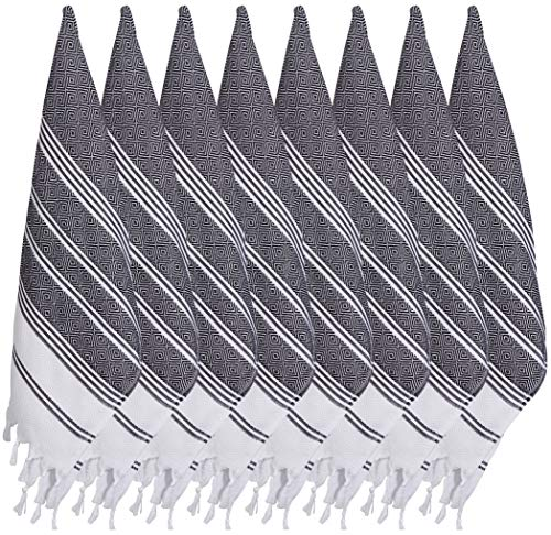 (SET of 8) Turkish Cotton Hand Face Head Guest Gym Towel Set Peshtemal Washcloth Kitchen Tea Towel Dish Cloth Set (Black)