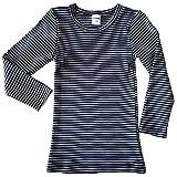 HERMKO 2683005 Camiseta térmica de Manga Larga para niños con óptica de Rayas, Hecha de 67% algodón + 33% poliéster, Größe Kinder:1.5-2.0 años, Farbe Ringel:Marine Ringel