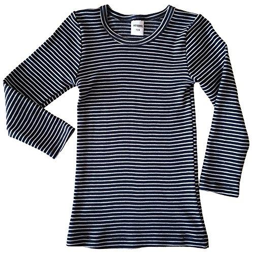 HERMKO 2683005 Kinder Langarm Thermoshirt, Größe:140, Farbe:Marine Ringel