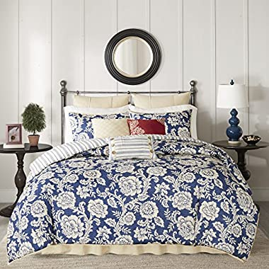 9 Piece Navy Blue White Cal King Duvet Cover Set, Floral Pattern Themed Bedding Flower Bohemian Boho Chic Modern Vintage Rose Beautiful Cozy Striped Pretty Ivory Nature Garden Trendy, Cotton