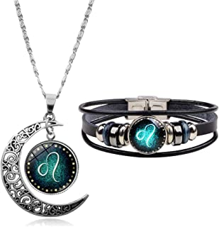 CHOA Vintage 12 Constellations Bracelet and Moon Pendant Necklace Zodiac Sign Jewelry Set