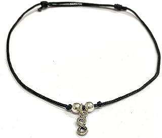 DARSHRAJ Jewellers 925 Sterling Silver(Chandi) Black Infinity Thread Anklet|payal|Bracelet| for Girls| Women|Men|Boy|Child...
