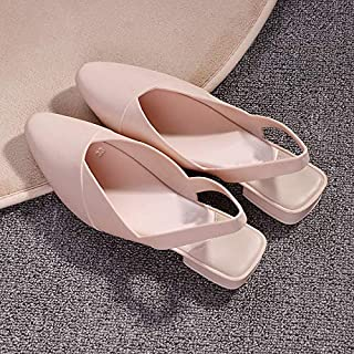 Women Slippers Female Casual Shoes Baotou Flats Sandals Pointed Toe Waterproof Non-Slip Shoes Simple elegant slippers (Color : Apricot, Shoe Size : 8.5)