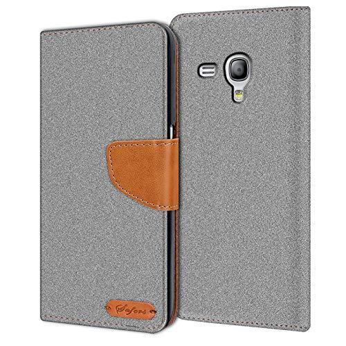 Verco Galaxy S3 Mini Hülle, Schutzhülle für Samsung Galaxy S3 Mini Tasche Denim Textil Book Case Flip Case - Klapphülle Grau