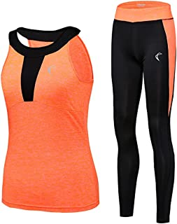 Tracksuit for Women Yoga Workout Fitness Running Athletic Sports Gym Tank Top Pant 2 Piece Set, 4 Colours Selection