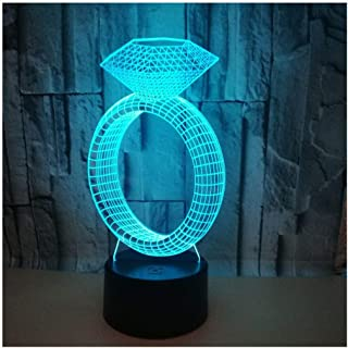 Mood Lights 3D Night Light, Diamond Ring Creative 3D Night Light Led Desk Lamp Gift Table Lamp, 3D Night Light