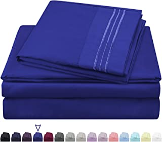 HOMEIDEAS 105 GSM Bed Sheets Set Extra Soft Hotel Luxury 1800 Premium Bed Sheets - Deep Pockets, Hypoallergenic, Wrinkle & Fade Resistant (King - Sheet Set, Royal Blue)