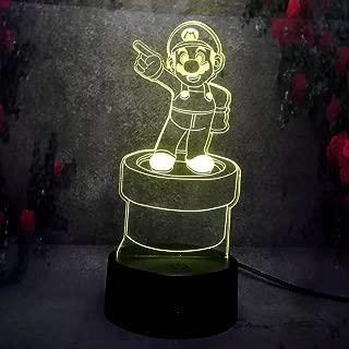 Amroe 3D LED Night Light 7 Color Change Remote Control Retro Game Super Mario Bedroom Decorative Desk Table Lamp Light Kid Gift USB Base Battery Powered