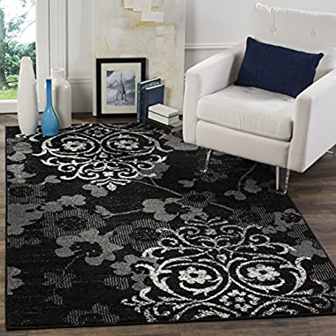 Safavieh Adirondack Collection ADR114A Black and Silver Contemporary Chic Damask Area Rug (5'1  x 7'6 )