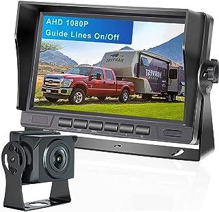 $99 » CAMECHO AHD 1080P Vehicle Backup Camera, 7'' LCD Monitor+Rear View Camera Kit, Super Night Vision IP69K Waterproof with Du...