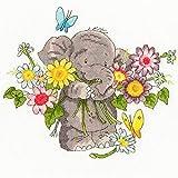 Bothy Threads Kit de Broderie au Point de Croix – Bouquet géant – Éléphant Mignon avec Fleurs
