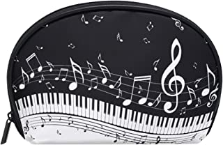 ALAZA Music Note Half Moon Cosmetic Makeup Toiletry Bag Pouch Travel Handy Purse Organizer Bag for Women Girls
