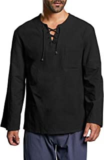 Mens Long Sleeve Hippie Shirts Cotton Summer Lace up V Neck Casual Loose Fit Yoga Top Blouse