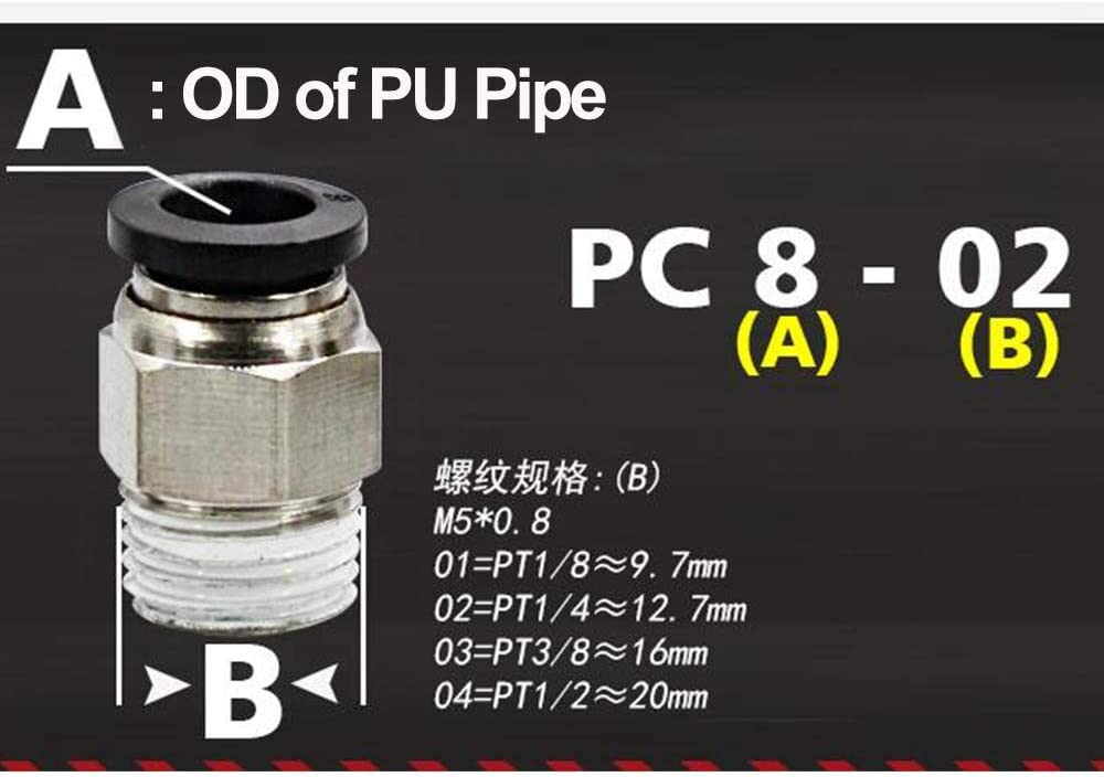 Size: PC 16mm Black End; Thread Specification: 1//2 KTS 1PC Blcak End PC4 to PC16 Hose Tube Push Into M5 1//8 1//4 3//8 1//2 Thread Male Straight Pneumatic Connect Fittings PC4-M5