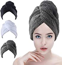 Sinland Microfiber Hair Drying Cap Turban Twist for Long Hair 3 Pack Wrap Towels Fast Drying Absorbent Drying Towel Hair W...
