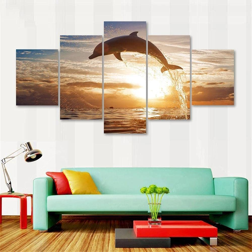 5 OFFicial 25% OFF Panels Canvas Wall Art Animal for Dolphins Poster
