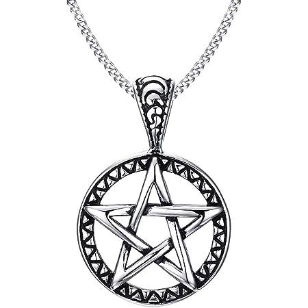 Joielavie potente gioielli collana Hollow stella pentagramma pentacolo in acciaio INOX vintage gotico regalo per uomo donna (con sacchetto regalo)