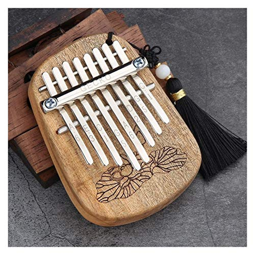LIWEIKE 8 Key Mini Kalimba African Camphor Madera Mahogany Thumb Piano Finger Percussion Keyboard Mbira Sanza Instrumento Musical (Color : Camphor Wood, Size : 10.5 * 7.5 * 6.5cm)