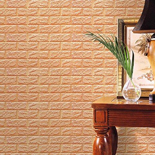 FAMILIZO PE de Espuma de 3D Wallpaper DIY Pared Pegatinas Decoración de Pared en Relieve Piedra de ladrillo (60_x_60_cm, Caqui)
